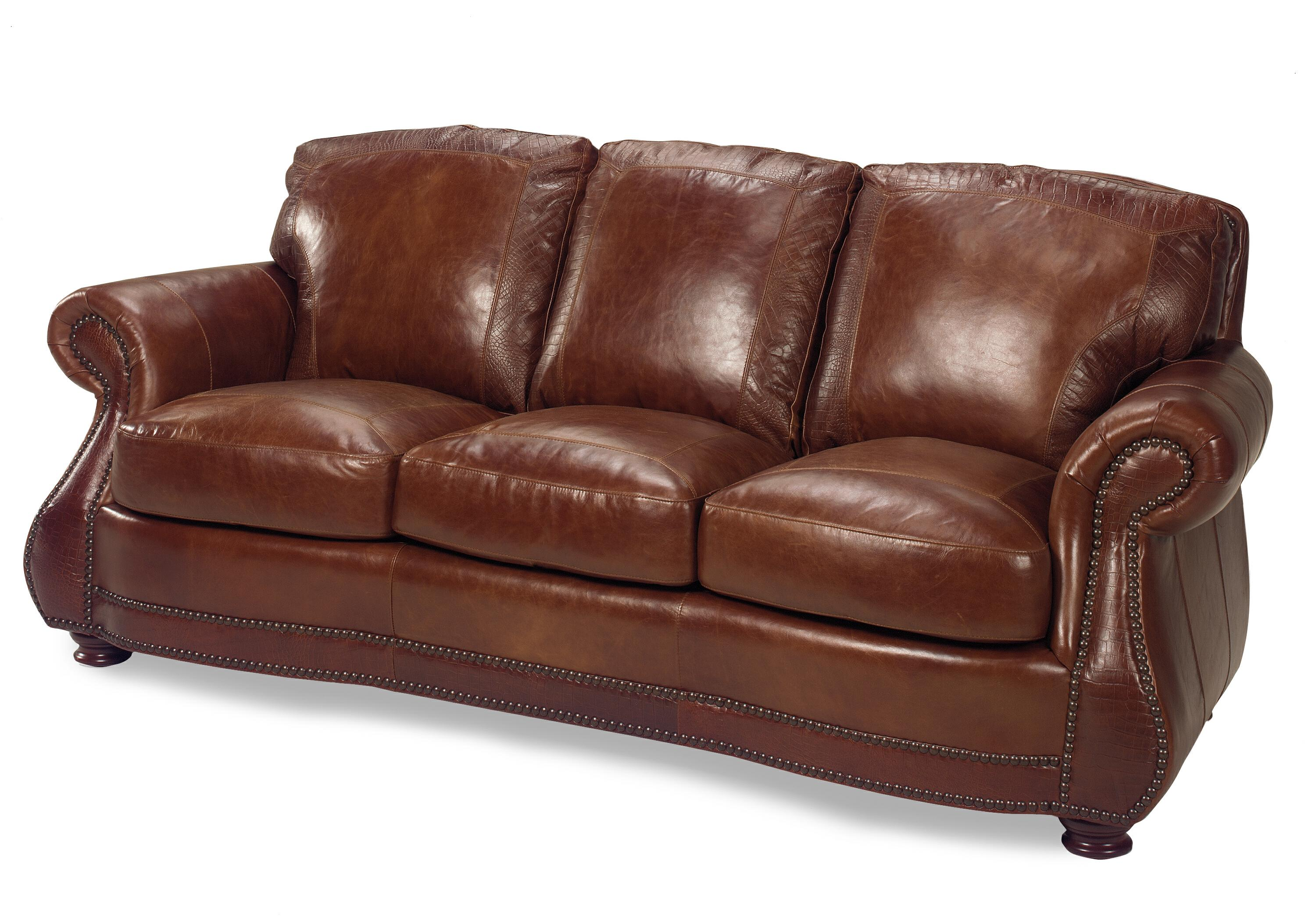 Traditional roll arm sofa w alligator by usa premium for Traditional leather furniture