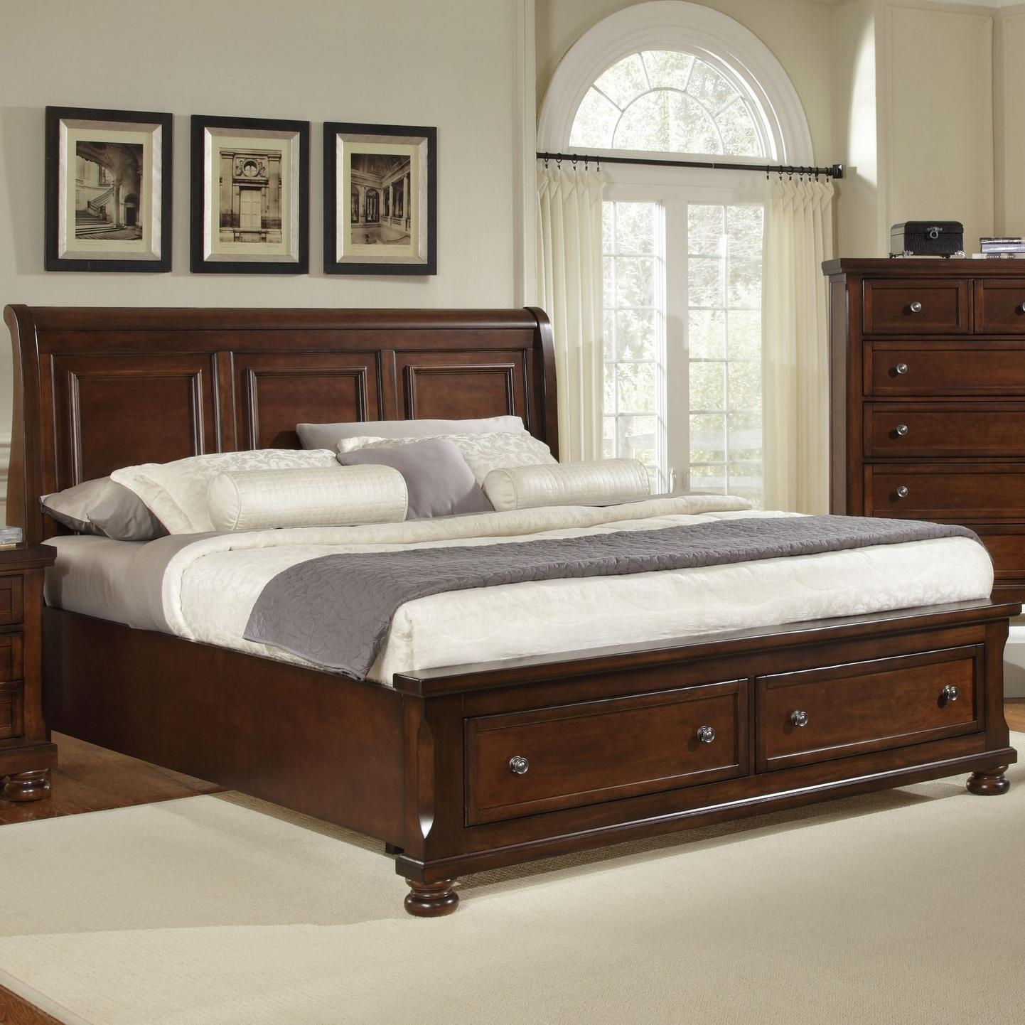 king storage bed with sleigh headboard by vaughan bassett. Black Bedroom Furniture Sets. Home Design Ideas