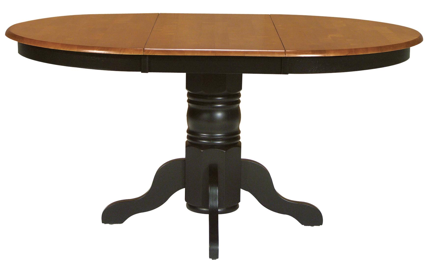 Two toned oval dining table with turned pedestal base by for Pedestal dining table and chairs