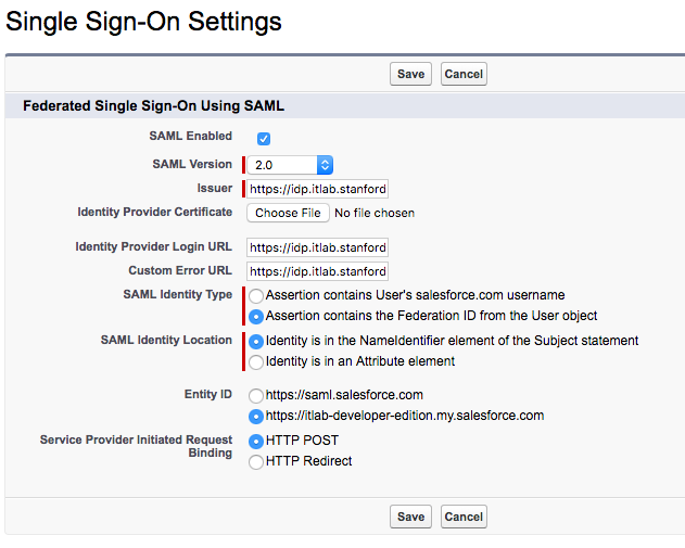 Screenshot of Salesforce Single Sign-On Settings