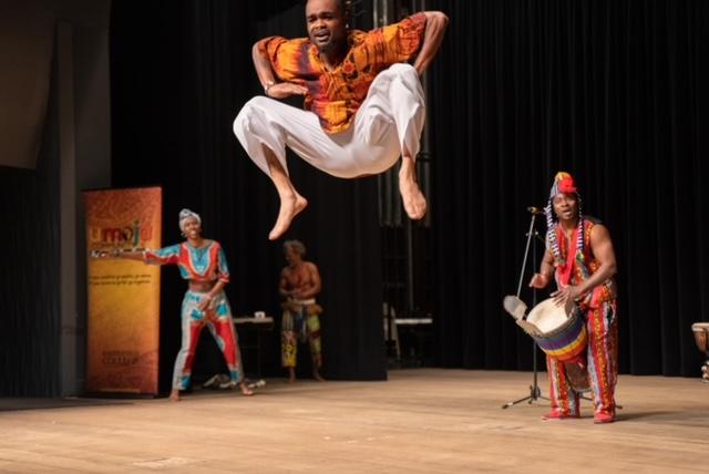 Dancer performing high jump