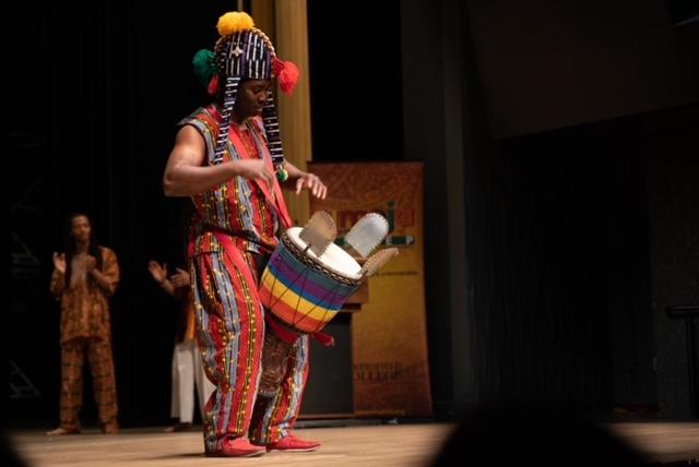 Drummer onstage performing