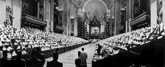 A panoramic view shows bishops gathered in St. Peter's Basilica for the opening session of the Second Vatican Council in the fall of 1962. (CNS file photo)