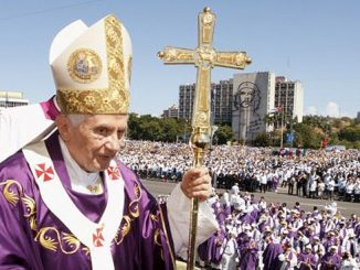 Pope Benedict XVI carries his pastoral staff after celebrating Mass in Revolution Square in Havana. (CNS/Paul Haring)