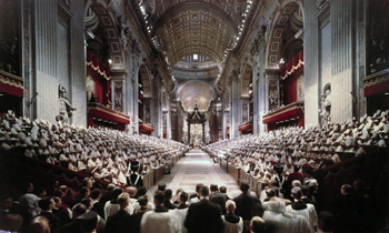 pope john xxiii leads the opening session of the second vatican council in st. peter's basilica at the vatican oct. 11