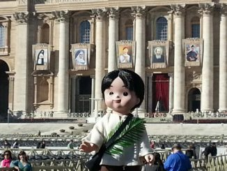 pedrito in st. peter's square ahead of this sunday's canonization ceremony.