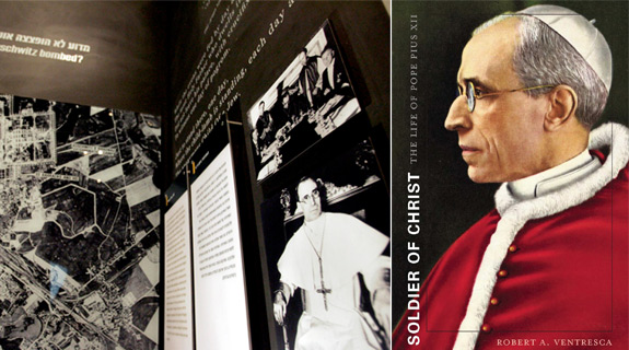 Left: An image depicting Pope Pius XII is seen displayed at the Yad Vashem Holocaust Memorial in Jerusalem (CNS). Right: The cover of Soldier of Christ: The Life of Pope Pius XII