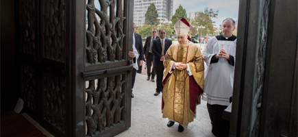 Archbishop Cordileone entering St Mary's Cathedral for his installation Mass