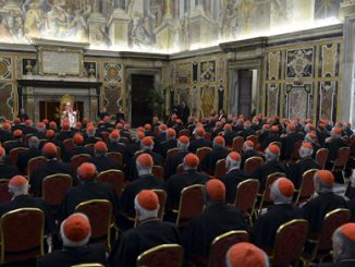 pope benedict xvi addresses the college of cardinals at the vatican feb. 28