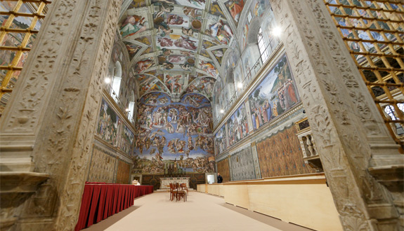 the sistine chapel is seen as preparations continue for the conclave at the vatican march 9. cardinal electors will enter the chapel in the afternoon march 12 to begin the conclave to elect the new pope. (cns photo/paul haring)