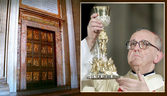 Left: The Holy Door at St. Peter's Basilica in Rome. Right: Cardinal Jorge Mario Bergoglio