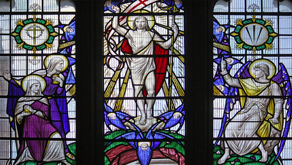This window of the Resurrection by Christopher Webb is in Sherborne Abbey. (Fr. Lawrence Lew