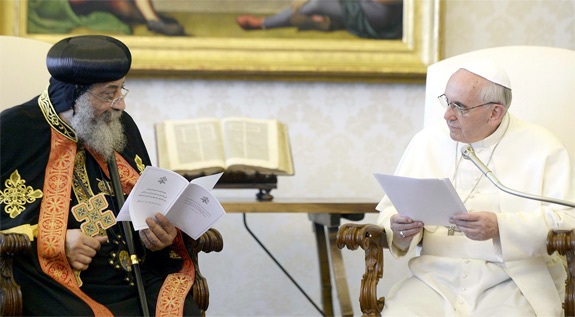 Mark and Peter: Coptic Pope Tawadros II visits Pope Francis