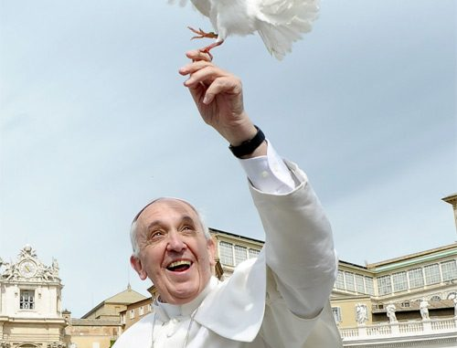 Pope Francis holds a dove before his weekly audience in St. Peter's Square at the Vatican May 15. (CNS photo/L'Osservatore Romano via Reuters)