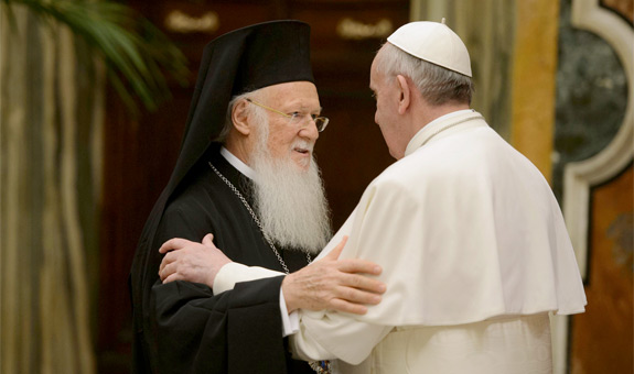 Pope Francis embraces Ecumenical Patriarch Bartholomew of Constantinople