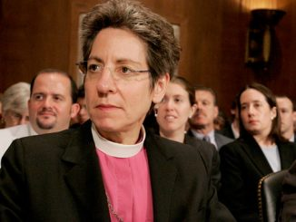 Episcopal Bishop Katharine Jefferts Schori at a U.S. Senate hearing in 2007 (CNS photo)