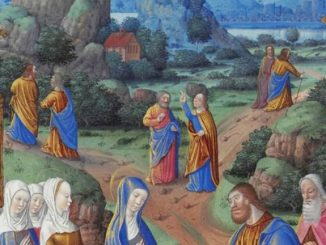 Detail from 'The Apostles Going Forth to Preach' (c. 1404-09) by the Limbourg brothers.