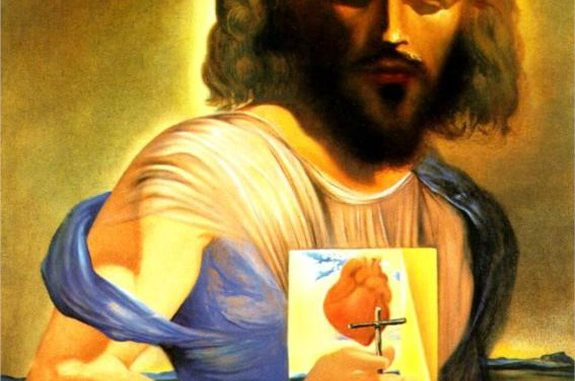 Detail of 'The Sacred Heart of Jesus' by Salvador Dali (1962).