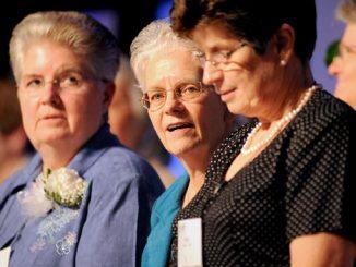 Franciscan Sister Florence Deacon (center)