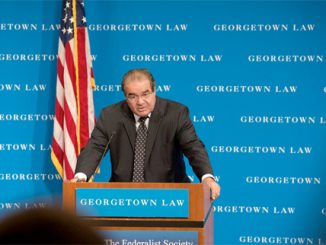 U.S. Supreme Court Justice Antonin Scalia delivers the inaugural Robert H. Bork Memorial Lecture at Georgetown University Law Center in Washington September 30. (CNS photo/Nancy Phelan Wiechec)