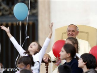 Pope Francis greets families gathered for the plenary assembly of the Pontifical Council for Families