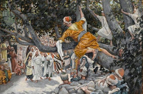 'Zacchaeus in the Sycamore Awaiting the Passage of Jesus' (Zachée sur le sycomore attendant le passage de Jésus) by James Tissot