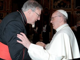Cardinal George Pell of Sydney greets Pope Francis during his audience with cardinals March 15 at the Vatican. (CNS photo/L'Osservatore Romano)