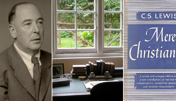 Left: Author C.S. Lewis is pictured in a 1955 portrait by Walter Stoneman. Middle: A desk overlooks the garden in The Kilns in Oxford