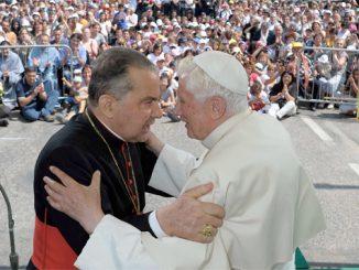 Pope Benedict XVI embraces Cardinal Carlo Caffarra of Bologna