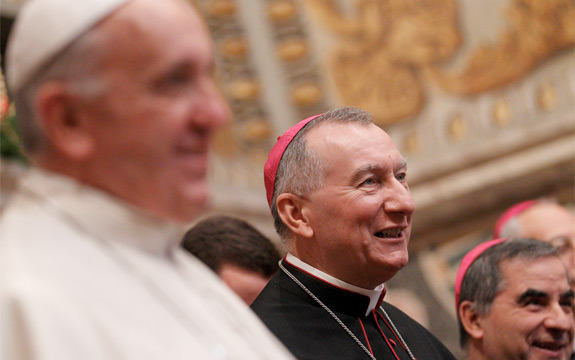 Pope Francis is pictured next to Cardinal-designate Pietro Parolin