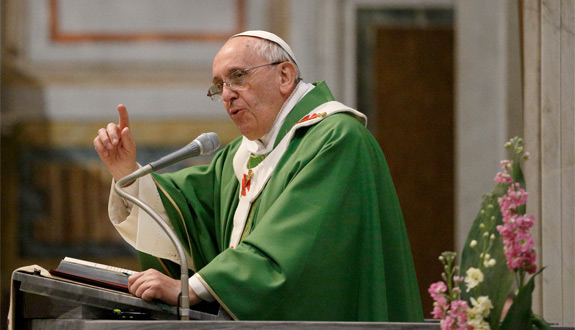 Pope Francis gives the homily during Mass at the Basilica of the Sacred Heart of Jesus in Rome earlier this year. (CNS photo/Paul Haring)
