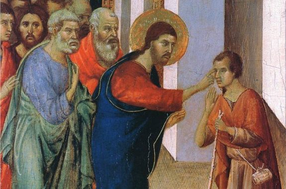 Detail from 'Healing the man born blind' by Duccio di Buoninsegna (1308-11)