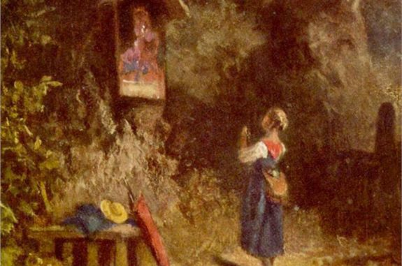 detail from 'Praying peasant girl in the woods' (c.1855 by Carl Spitzweg (Wikiart.org)