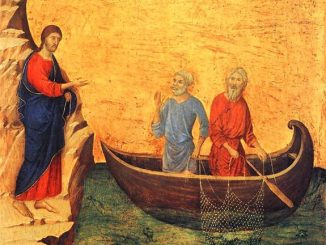 'The Calling of the Apostles Peter and Andrew' (1308-11) by Duccio [WikiArt.org]