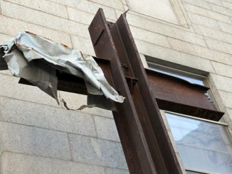 steel beams resembling a cross found in the rubble of the sept. 11