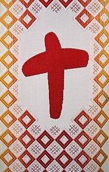 A detail view of a red cross sewn on chasubles that will be worn during World Youth Day 2011 in Madrid. (CNS photo/Hanna Gra bowska