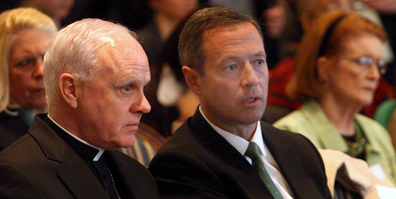 Archbishop Edwin F. O'Brien of Baltimore and Maryland Gov. Martin J. O'Malley are seen in Annapolis