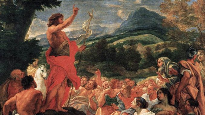 johnbaptist preaching Readings:• Is 40:1-5, 9-11• Ps 85:9-10-11-12, 13-14• 2 Pt 3:8-14• Mk 1:1-8