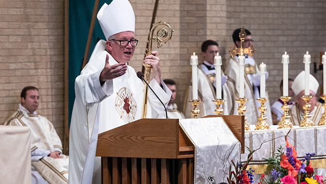 """Hying 2578 copy MADISON, Wisconsin — While the decision to suspend public Masses at more than 100 Catholic parishes was """"the hardest thing I could possibly do,"""" the coronavirus pandemic presents the faithful an opportunity to become more focused on prayer and can lead to a deeper trust in God, Bishop Donald J. Hying said."""