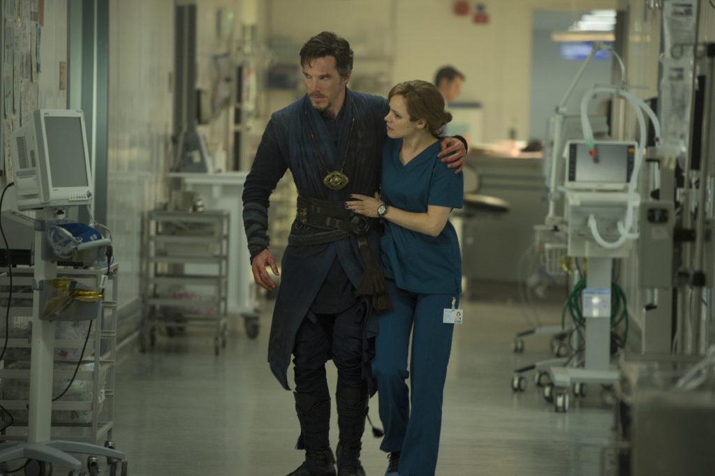 Marvel's DOCTOR STRANGE L to R: Doctor Stephen Strange (Benedict Cumberbatch) and Christine Palmer (Rachel McAdams) Photo Credit: Jay Maidment ©2016 Marvel. All Rights Reserved.