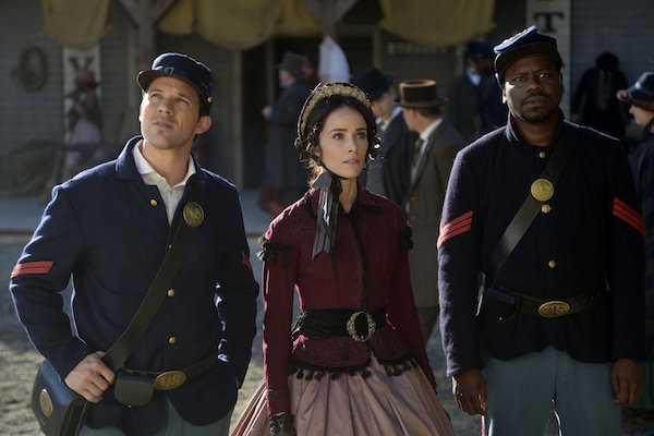 "TIMELESS -- ""The Assassination of Abraham Lincoln"" Episode 101 -- Pictured: (l-r) Matt Lanter as Wyatt Logan, Abigail Spencer as Lucy Preston, Malcolm Barrett as Rufus Carlin -- (Photo by: Sergei Bachlakov/NBC)"