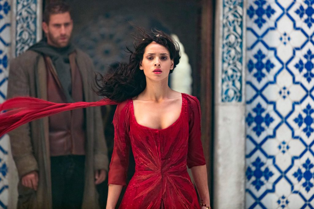 """EMERALD CITY -- """"Mistress-New-Mistress"""" Episode 103 -- Pictured: (l-r) Oliver Jackson Cohen as Lucas, Adria Arjona as Dorothy -- (Photo by: David Lukacs/NBC)"""