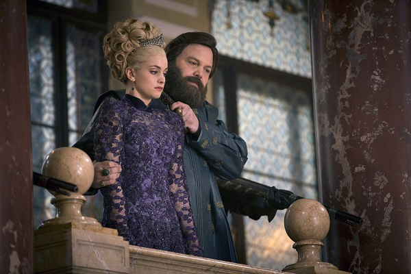"""EMERALD CITY -- """"The Villain That's Become"""" Episode 109 -- Pictured: (l-r) Stefani Martini as Lady Ev, Vincent D'onofrio as Wizard -- (Photo by: David Lukacs/NBC)"""
