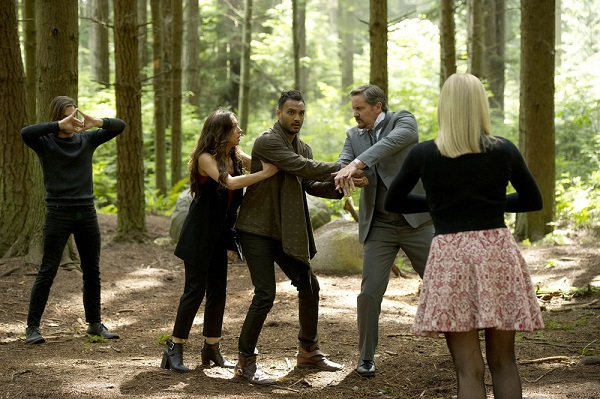 """THE MAGICIANS -- """"Divine Elimination"""" Episode 203 -- Pictured: (l-r) Jason Ralph as Quentin, Stella Maeve as Julia, Arjun Gupta as Penny, Charles Mesure as The Beast -- (Photo by: Carole Segal/Syfy)"""