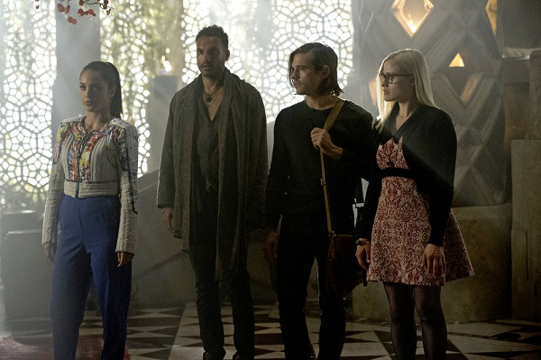 """THE MAGICIANS -- """"Divine Elimination"""" Episode 203 -- Pictured: (l-r) Summer Bishil as Margo, Arjun Gupta as Penny, Jason Ralph as Quentin, Olivia Taylor Dudley as Alice -- (Photo by: Carole Segal/Syfy)"""