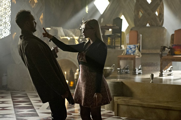 """THE MAGICIANS -- """"Divine Elimination"""" Episode 203 -- Pictured: (l-r) Arjun Gupta as Penny, Olivia Taylor Dudley as Alice -- (Photo by: Carole Segal/Syfy)"""