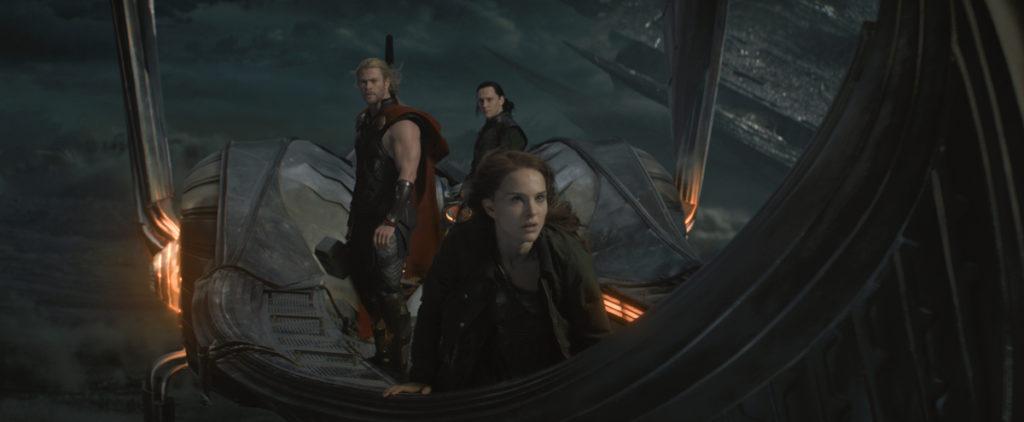 ***SUNDAY CALENDAR SNEAKS STORY FOR NOVEMBER 3, 2013. DO NOT USE PRIOR TO PUBLICATION**********From Marvel's movie Thor: The Dark World. L to R: Thor (Chris Hemsworth), Loki (Tom Hiddleston) and Jane Foster (Natalie Portman) Ph: Film Frame © 2013 MVLFFLLC. TM & © 2013 Marvel. All Rights Reserved.