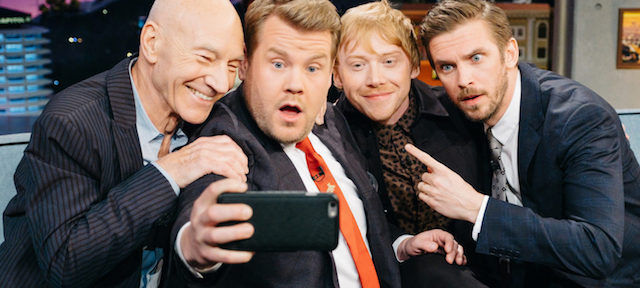 """Patrick Stewart, Rupert Grint, and Dan Stevens chat with James Corden during """"The Late Late Show with James Corden,"""" Monday, March 6, 2017 (12:35 PM-1:37 AM ET/PT) On The CBS Television Network. Photo: Terence Patrick/CBS ©2017 CBS Broadcasting, Inc. All Rights Reserved"""