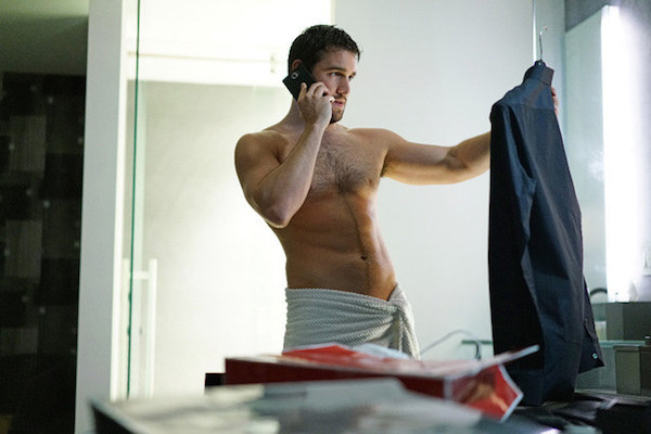 Reserved this space for a chart depicting time-travel overlap paradoxes, but it was boring so here's Josh Bowman in a towel.