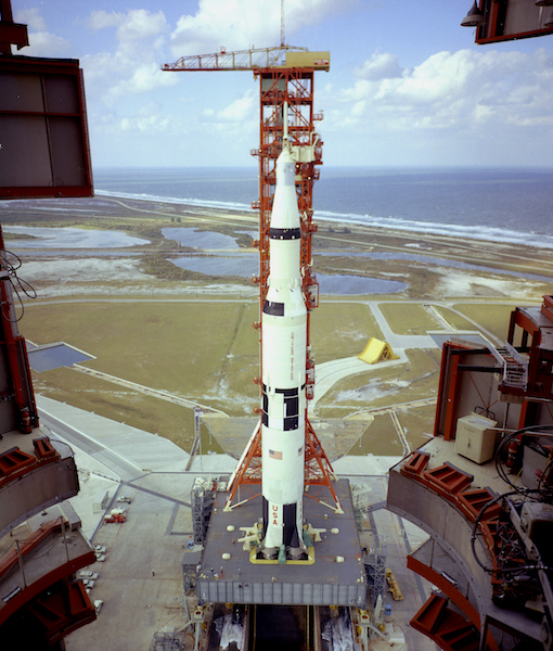 SATURN 501 FROM TOP OF MOBILE SERVICE STRUCTURE PAD 39A